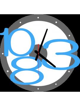 3D nástenné hodiny Exclusive, farba:sivá, modré svetlé čísla