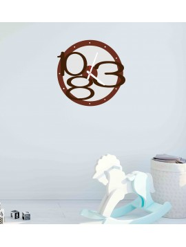 3D nástenné hodiny Exclusive, farba:hnedá, svetlé hnedé čísla, biele ručičky