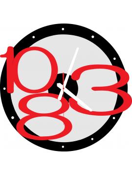 3D nástenné hodiny Exclusive, farba:čierna,červené čísla,farba ručičiek:biela