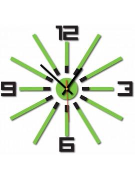 Nástenné hodiny do obývačky farba čierna svetlá zelená  CORTECO