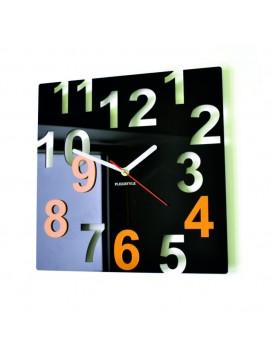 Moderné nástenné hodiny-Farebné čísla,  Farba:čierna,žltá