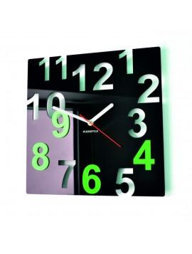 Moderné nástenné hodiny-Farebné čísla,  Farba:čierna,svetlá zelená NUMBERS