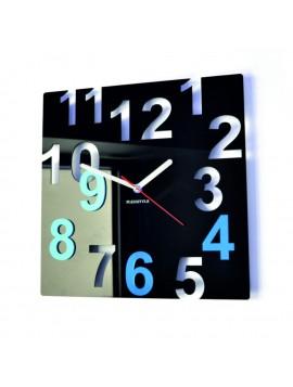 Moderné nástenné hodiny-Farebné čísla,  Farba:čierna,svetlá modrá