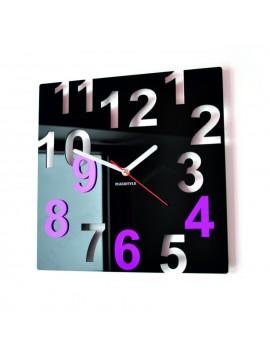 Nástenné hodiny-Farebné čísla,  Farba:čierna,svetlá modrá