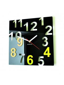 Moderné nástenné hodiny-Farebné čísla,  Farba:čierna,svetlá žltá