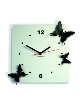 Moderné nástenné hodiny z plastu-Motýle, Farba:biela,čierna, Rozmer: 30x30 cm