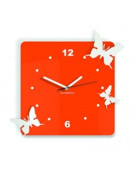 Moderné nástenné hodiny  Motýle, Farba:oranžová,biela, Rozmer: 30x30 cm DOROTA