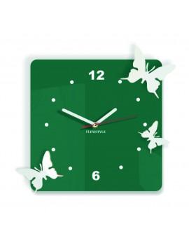 Moderné nástenné hodiny z plastu-Motýle, Farba:tmavá zelená,biela, Rozmer: 30x30 cm