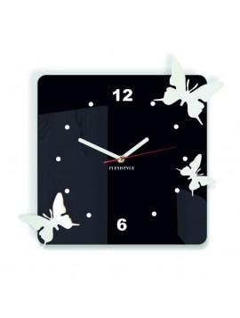 Moderné nástenné hodiny pre deti Motýle, Farba: čierna,biela, Rozmer: 30x30 cm POHERKEF