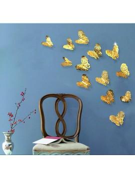 Moderná samolepka na stenu - zlatý motýľ, 1 sada - 12ks GOLD