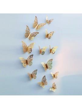Štýlová samolepka na stenu-zlatý motýľ, 1 sada - 12ks GOLD