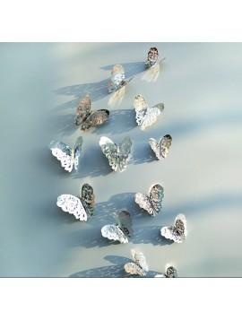 Zrkadlová samolepka na stenu-strieborný motýľ, 1 sada - 12ks SILVER