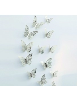 Trendy samolepka-Motýľ silver, 1 sada - 12ks