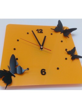 Moderné nástenné hodiny Motýle, Farba: žltá,čierna Rozmer: 30x30 cm  HORIET