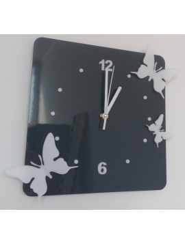 Moderné nástenné hodiny z plastu-Motýle, Farba:sivá,biela, Rozmer: 30x30 cm