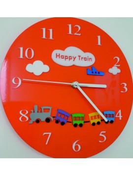 Nástenné hodiny detský svet . Farba oranžová. Rozmer  30 x30 cm X0052