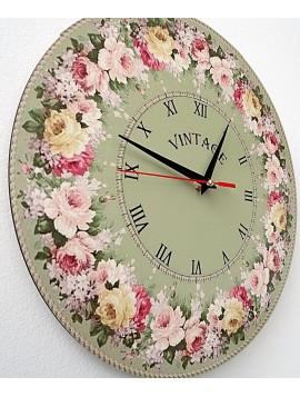 STYLESA Vintage drevené nástenné hodiny kruh: Fi: 30 cm BONDA HDFK002