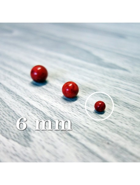 Červený koral - korálka minerál - FI 6 mm