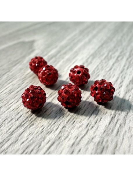 Shamballa korálka - červená FI 10 mm