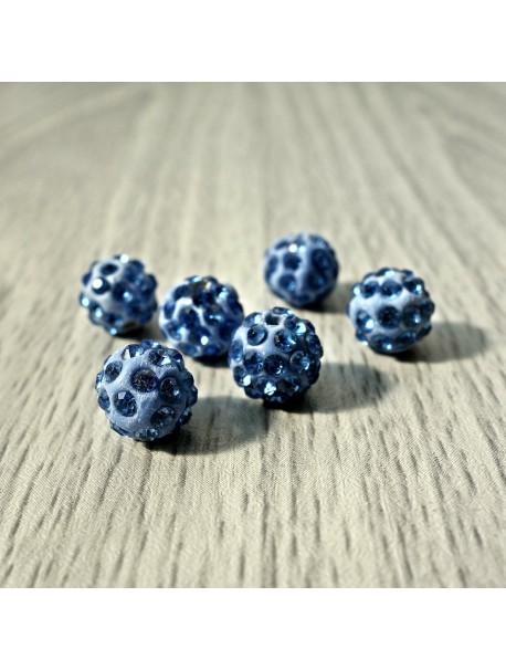 Shamballa korálka - slabo modrá FI 10 mm