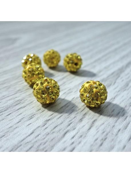 Shamballa korálka - žltá FI 10 mm