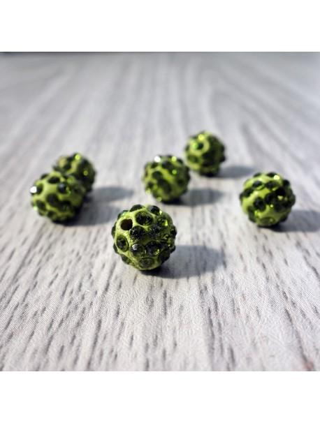 Shamballa korálka - olivovo zelená FI 10 mm