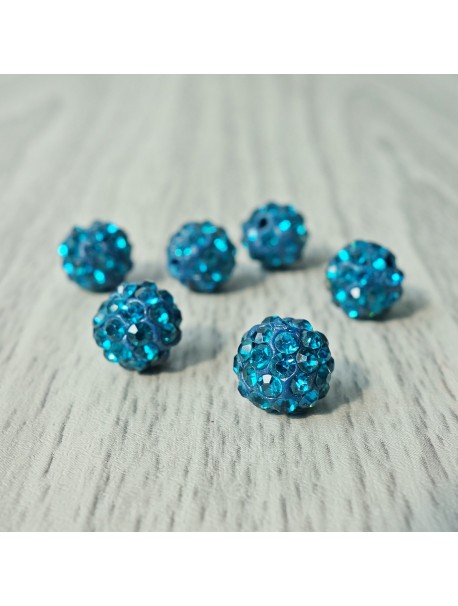 Shamballa korálka - capri modrá FI 10 mm