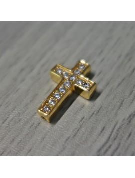 Kovový krížik so zirkónmi - zlatý
