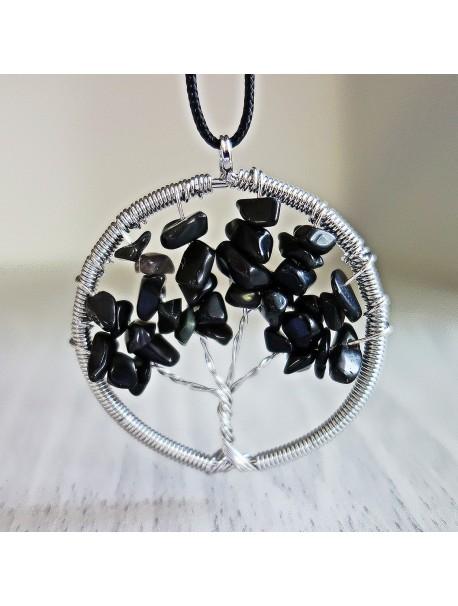 Prívesok z polodrahokamu - strom - čierny ónyx