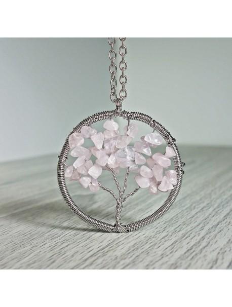 Prívesok z polodrahokamu - strom - ruženín