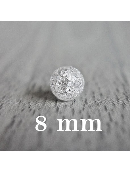 Praskaný krištáľ - korálka minerál - FI 8 mm