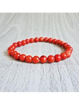 Náramok na ruku - koral červený - Ø FI 6 mm