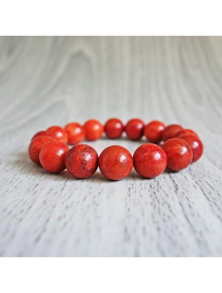Náramok na ruku - koral červený - Ø FI 10 mm