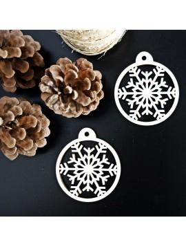 Drevená dekorácia na vianočný stromček - Snehová vločka, rozmer: 79x90 mm
