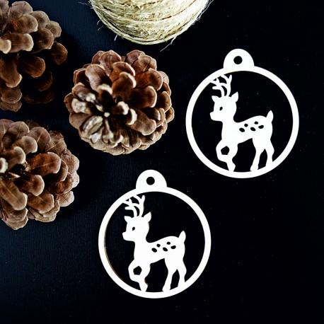 Vianočná dekorácia z dreva - Bambi, rozmer: 79x90 mm