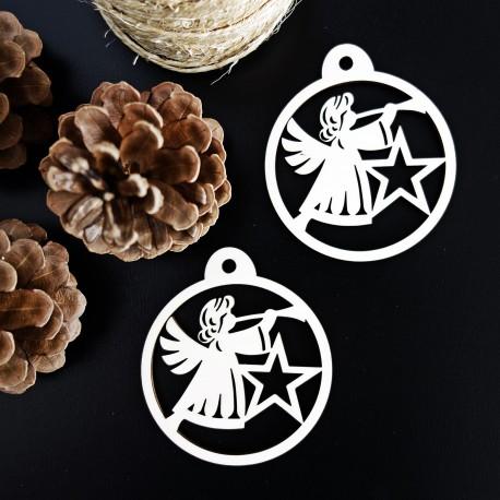 Vianočná ozdoba vyrobená z dreva - Anjel, rozmer: 79x90 mm