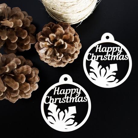 Ozdoba na Vianoce vyrobená z dreva - Veselé Vianoce, rozmer: 79x90 mm