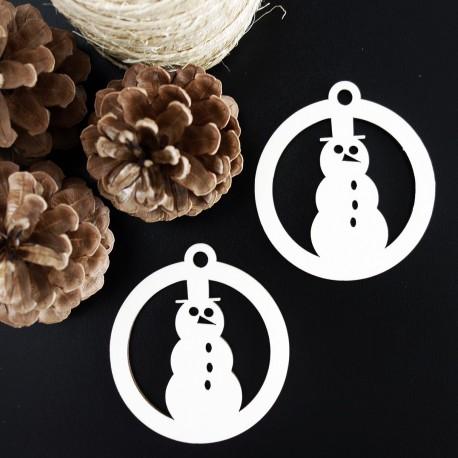 Snehuliak-drevená vianočná ozdoba, rozmer:79x90 mm