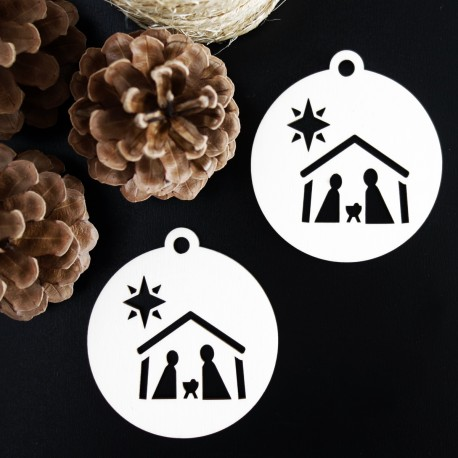 Vintage ozdoba na vianočný stromček - Betlehem, rozmer: 79x90 mm