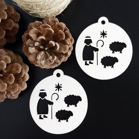 Ozdoba na vianoce vyrobená z dreva-Pastier, rozmer:79x90 mm