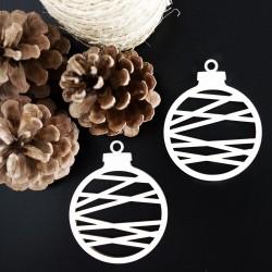 Dekorácia vyrobená z dreva-Vianočná guľa, rozmer: 79x90 mm