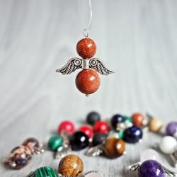 Prívesok anjelik z minerálov - aventurín zlatý (slnečný kameň)