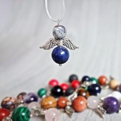 Prívesok anjelik z minerálov - svetlý hematit a lapis lazuli