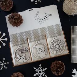 Sada krásnych vianočných ozdôb z dreva, 1 sada-18 kusov