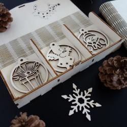 Drevené vianočné ozdoby, 1sada-18 kusov