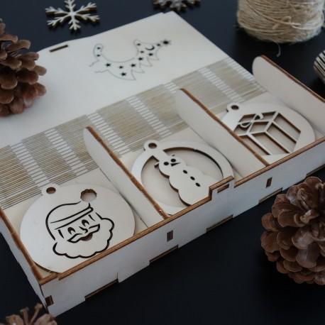 Drevené ozdoby na vianočný stromček, 1 sada-18 kusov