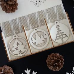 Ozdoby na vianočný stromček z dreva, 1 sada-18 kusov