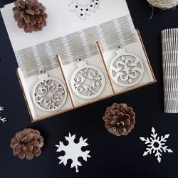 Drevené vianočné ozdoby, 1 sada-18 kusov ANJELIK