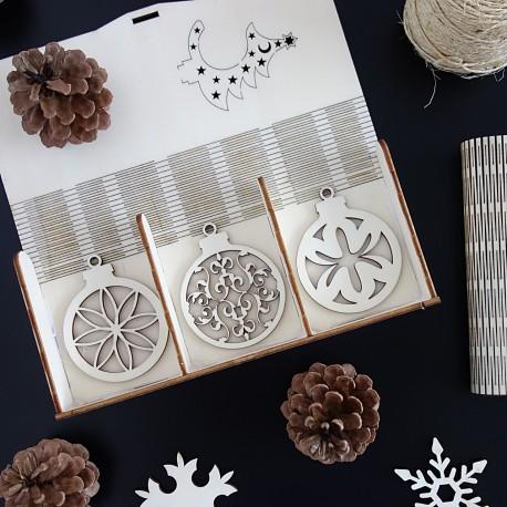 Sada drevených dekorácií na Vianoce, 1 sada-18 kusov