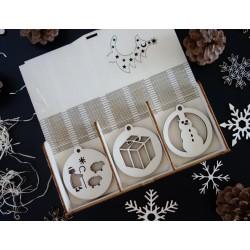 Drevené vianočné ozdoby, 1 sada-18 kusov DARCEK